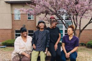 Women gathered outside at Atlanta Mission