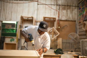 Homeless Man receiving carpentry training at Atlanta Mission